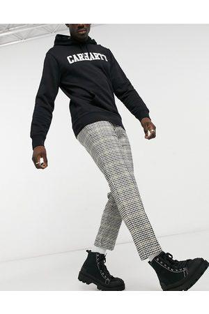 Burton Tapered mini check crop trousers in multi