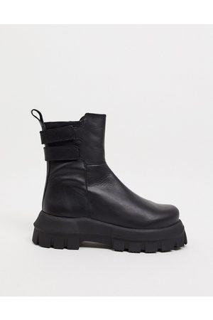 ASOS Arizona premium leather chunky boots in black