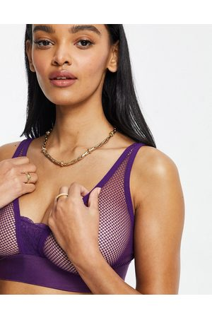 Tutti Rouge Fuller Bust fishnet bralette with lace detail in purple