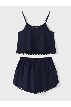 YOINS BASICS Navy Casual Sport Sleeveless Top and Elastic Waist Short Co-ord with Pom Pom Details