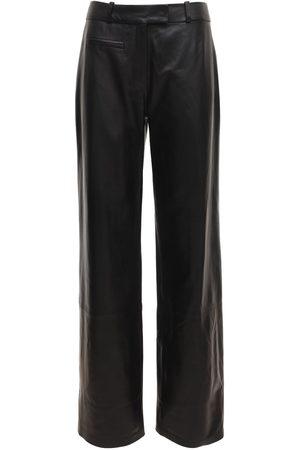 Zeynep Arcay Pantalones Rectos De Piel Con Cintura Baja
