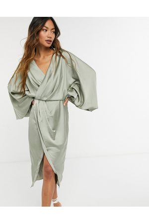 ASOS Blouson sleeve satin shirt dress with open back in olive