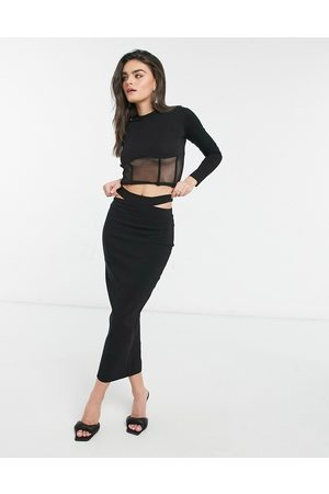Vesper Fitted maxi skirt with cut out detail co