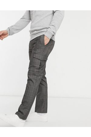 Burton Hombre Cargo - Smart check trousers with cargo pockets in grey