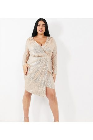 Jaded Rose Plus Long sleeve drap mini dress in light rose gold