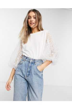 QED London Top with balloon spot mesh sleeves in ivory