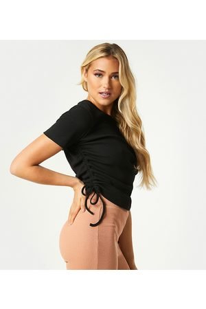 Outrageous Fortune Exclusive ruched side detail top in black