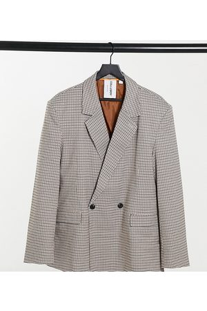 COLLUSION Unisex oversized double breasted dad blazer in heritage check