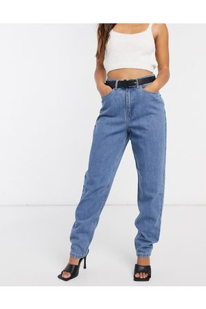 Missguided Riot high waisted plain mom jeans in blue