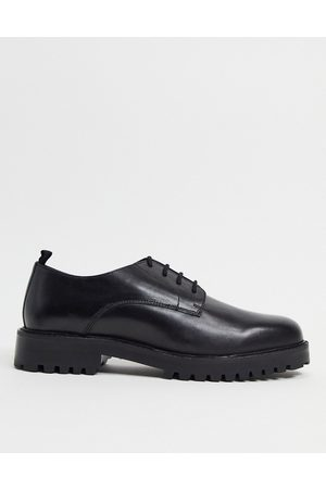 WALK LONDON Sean derby lace up shoes in black leather