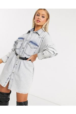 ASOS Denim oversized shirt dress in lightwash blue