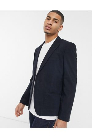 ASOS Skinny suit jacket in twill windowpane check in navy