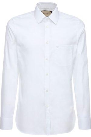 Gucci Camisa De Algodón Oxford Con Bordado