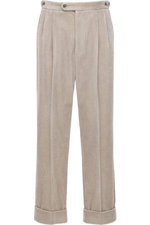 Gucci Pantalones Regular Fit De Pana Con Parche De Piel