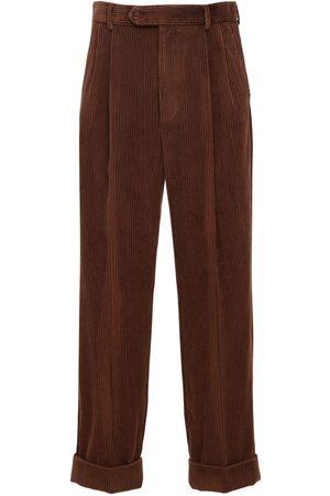 Gucci Pantalones De Pana Con Parche De Piel