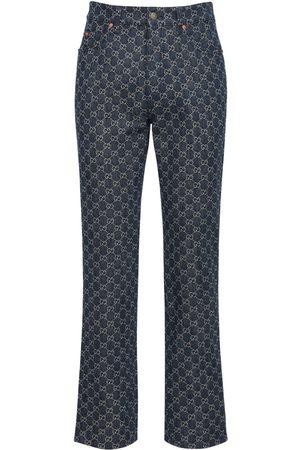 """Gucci Jeans """"gg"""" De Denim Jacquard Con Detalles De Piel"""