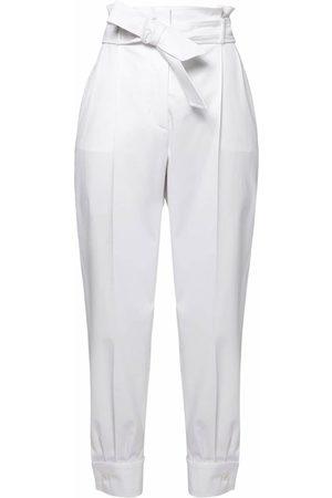 Max Mara Pantalones De Sarga De Algodón Con Cintura Alta