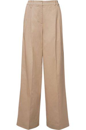 Agnona Pantalones De Algodón Stretch Con Cintura Alta