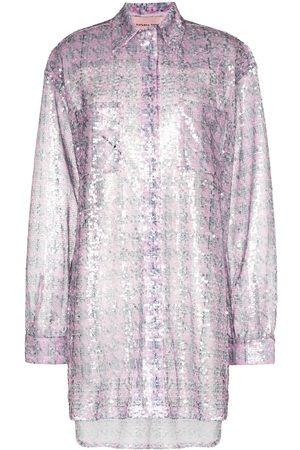 Natasha Zinko Mujer Camisas - Camisa translúcida con lentejuelas