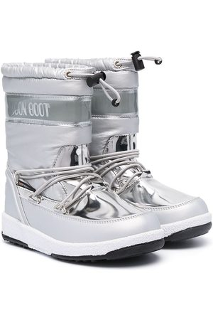Moon Boot Botines - Metallic snow lace-up boots