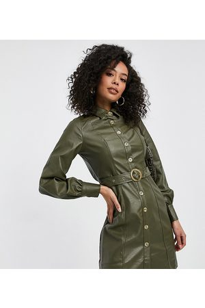 Violet Romance Tall Belted PU shirt dress in khaki