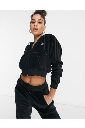 adidas Relaxed Risqué' velour zip through hoodie in black