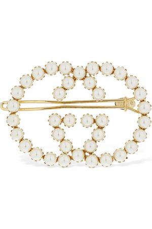 """Gucci Mujer Accesorios para el cabello - Horquilla Con Logo """"gg"""" De Perlas De Imitación"""
