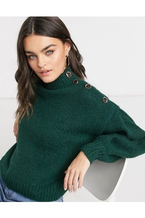 Vero Moda Premium jumper with button detail in dark green