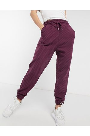 ASOS Hourglass quilted jogger in aubergine