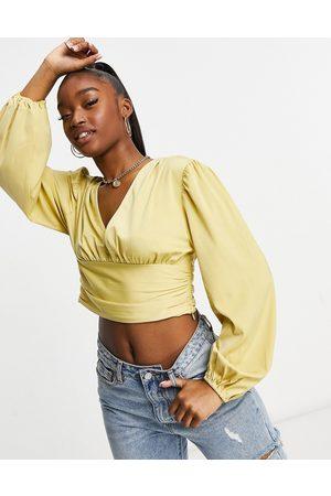 Pretty Lavish Ruched waist volume sleeve matte satin blouse in ochre