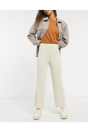 Monki Calah rib trousers in off white