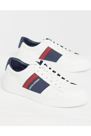 Jack & Jones Faux leather trainer with stripe logo in white