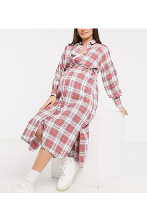 ASOS ASOS DESIGN Maternity nursing button through double layer shirt dress in check