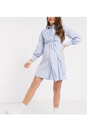 ASOS ASOS DESIGN Maternity nursing wrap front mini shirt dress in stripe