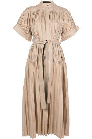 Proenza Schouler Vestido plisado de popelina con cinturón