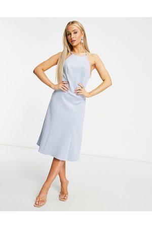 Chi Chi London Lace back midi prom dress in blue