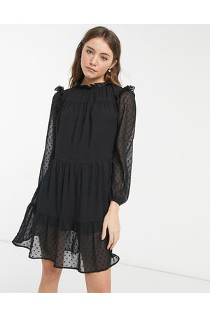 VIOLET ROMANCE Mini smock dress in black