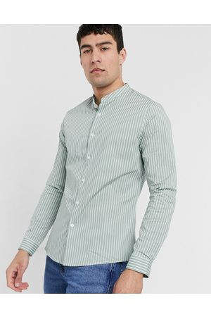ASOS Slim fit shirt with vertical stripe in sage green