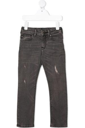 Emporio Armani Niño Jeans - Jeans rectos con efecto envejecido