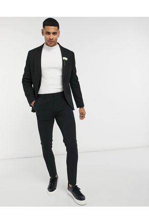 ASOS Wedding super skinny suit jacket in black micro texture