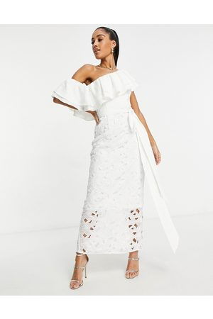 Chi Chi London Mujer Vestidos - One shoulder ruffle midaxi dress in white