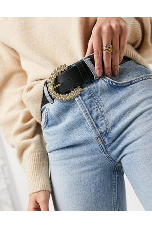 ASOS Waist and hip jeans belt with diamante buckle
