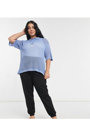 Loose Threads Plus Oversized lounge polo shirt in loose knit