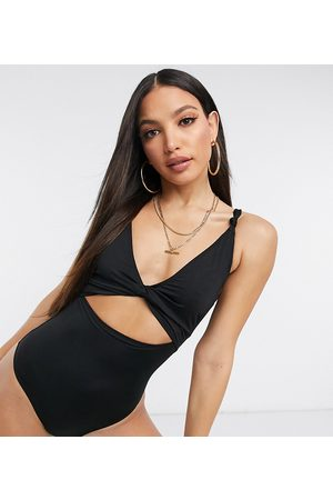 ASOS ASOS DESIGN tall recycled loop front swimsuit with knot in black