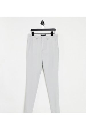 ASOS Tall wedding super skinny suit trousers in ice grey micro texture