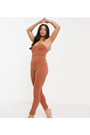 ASOS Mujer Cortos - ASOS DESIGN petite bandeau split leg unitard in brown