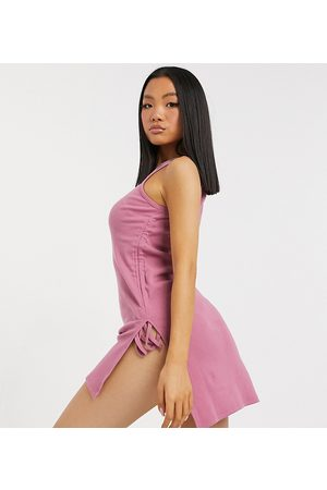 Outrageous Fortune Exclusive ruched side detail longline mini dress in dusty rose