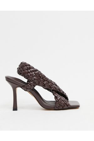 ASOS Nock woven cross strap heeled sandals in chocolate