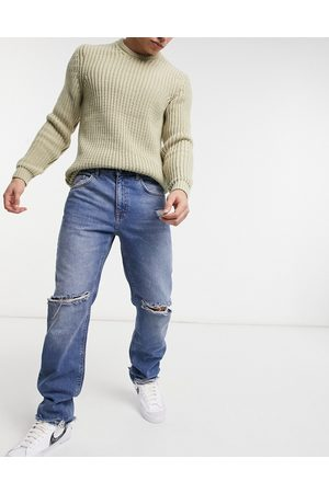 ASOS Original fit jeans in vintage mid wash with knee rips and destroyed hem