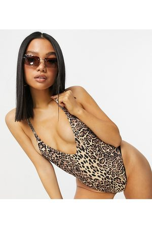 ASOS Petite ribbed loop strappy back swimsuit in leopard print